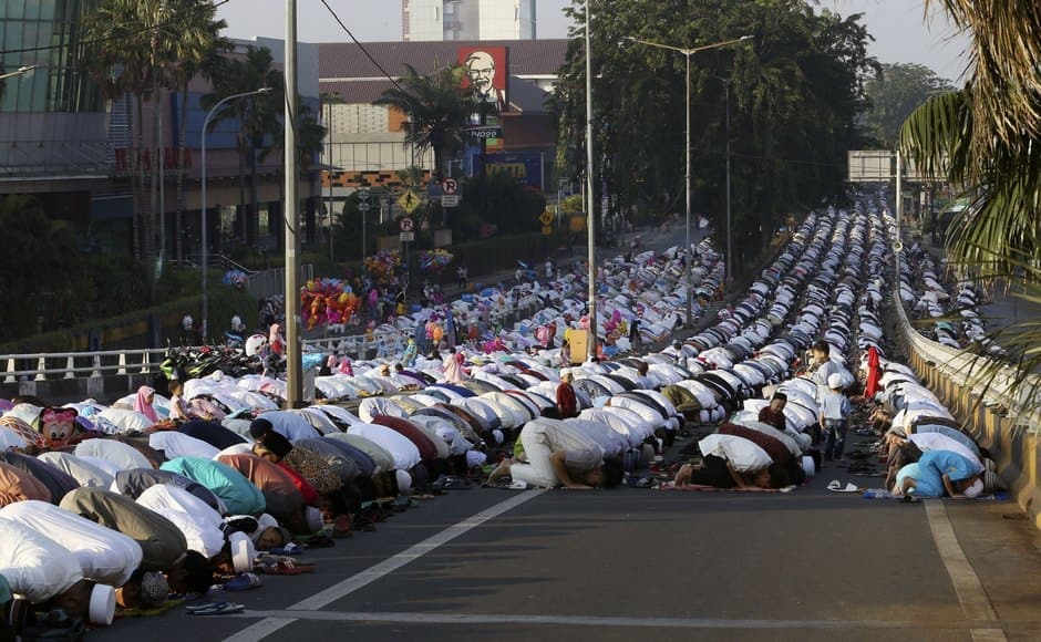 Eid-ul-Fitr symbolises peace and brotherhood. The festival was celebrated with much enthusiasm in other South Asian countries as well. In this image from Indonesia, Muslims offered Eid al-Fitr prayer in Jakarta. AP