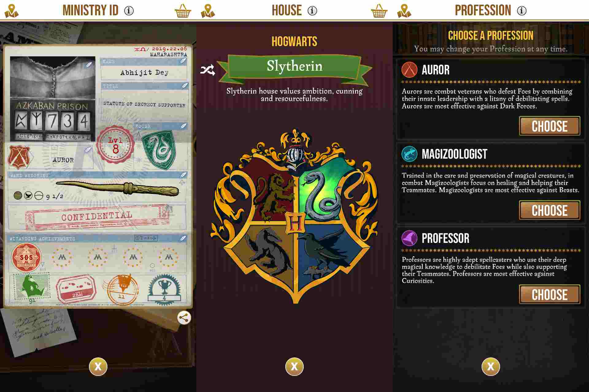 Harry Potter: Wizards Unite allows you to customise your own profile.
