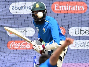 South Africa's Hashim Amla plays a shot in the nets during a training session at the Rose Bowl in Southampton, southern England, on June 9, 2019, ahead of their match of the 2019 Cricket World Cup against West Indies. (Photo by Glyn KIRK / AFP) / RESTRICTED TO EDITORIAL USE