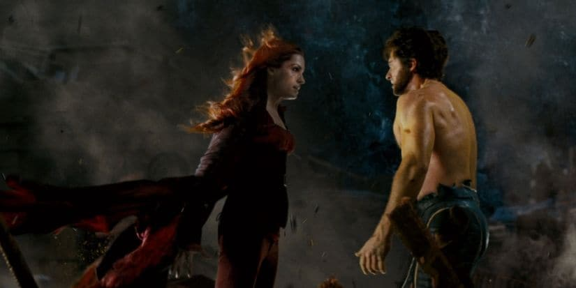 Famke Jannsen as Jean Grey and Hugh Jackman as Wolverine in a still from X-Men: The Last Stand