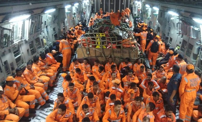 Nearly 1,000 NDRF personnel, apart from including medical and rescue experts have been flown into cyclone-prone areas 24 hours ahead of the expected landfall to join the NDRF rescuers already present on ground. Image courtesy: Twitter/@NDRFHQ