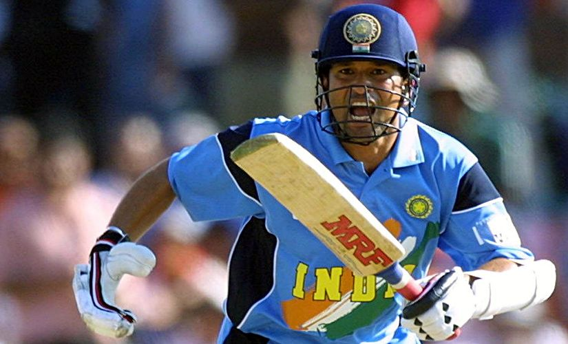 India's Satchin Tendulkar calls for a run during his innings of 98 runs in the ICC Cricket World Cup 2003 game between India and Pakistan. AFP