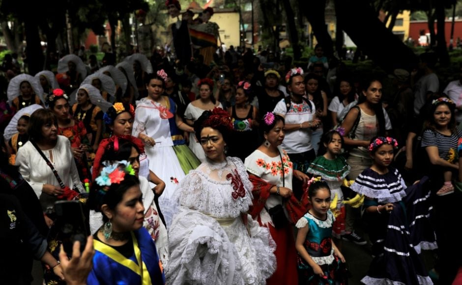 Recognised especially by her iconic uni-brow, her hair adorned with flowers and her small but visible mustache, Kahlo continues to be widely celebrated by feminists across the world. Hundreds marked the birth anniversary of the artists with a parade. Reuters/ Luis Cortes