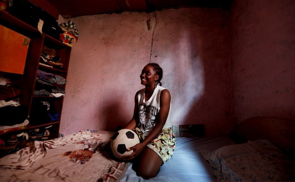 An orphan, Pouadjeu was raised by her aunt who forbade her from playing football. For her part, the soccer player chanelises her anger towards working on her game every day. Reuters/ Zohra Bensemra