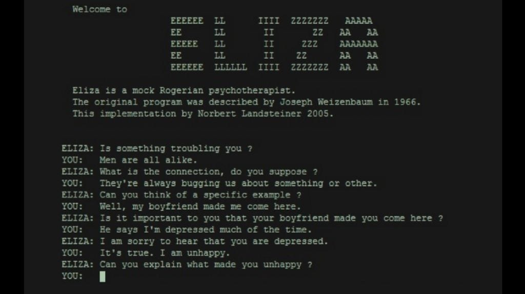 'A conversation with the ELIZA chatbot'. Photo credit: Wikimedia Commons.