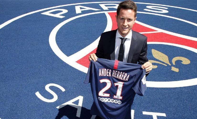 Ander Herrera signed for Paris Saint-Germain shortly after running down his contract with Manchester United. Twitter@PSG_English