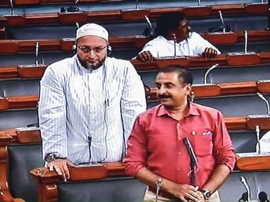 AIMIM chief Asaduddin Owaisi and party MP Imtiyaz Jaleel in the Lok Sabha on Thursday. PTI