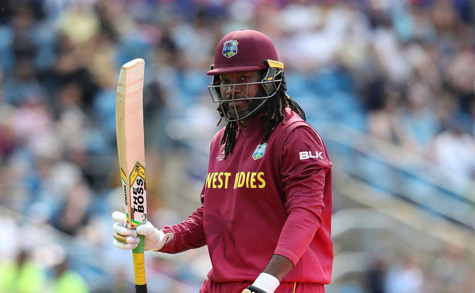 Swashbuckling West Indies batsman Chris Gayle had a forgettable outing in what was his last-ever World Cup clash. The veteran was dismissed for seven off Dawlat Zadran's delivery. AP