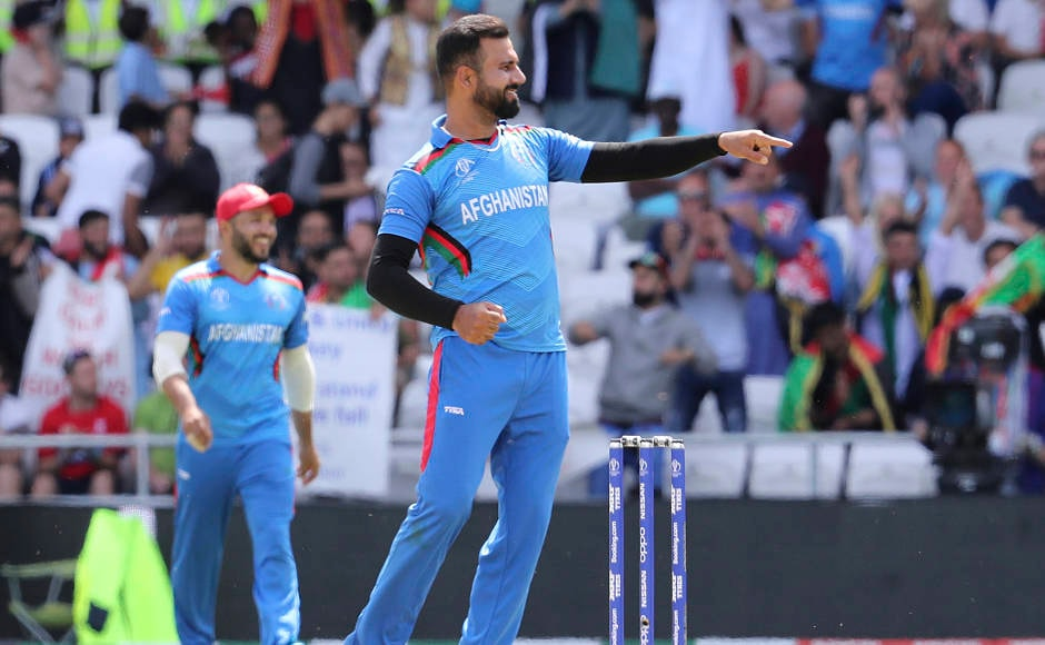 Afghanistan's Dawlat Zadran celebrates the dismissal of Windies' Shimron Hetmyer. Zadran finished with figures of 2-73 from nine overs. AP