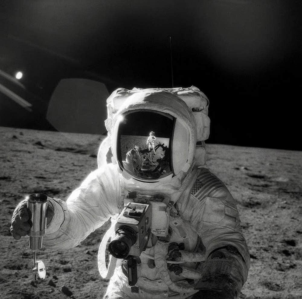 Alan Bean using the Hasselblad during the Apollo 12 missions. Image credit: NASA