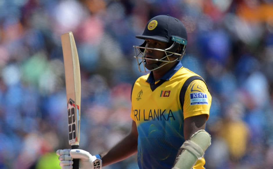 Sri Lanka's Angelo Mathews starred for Sri Lanka with the bat, striking 113 off 128 balls to take the team total to 264/7. AFP
