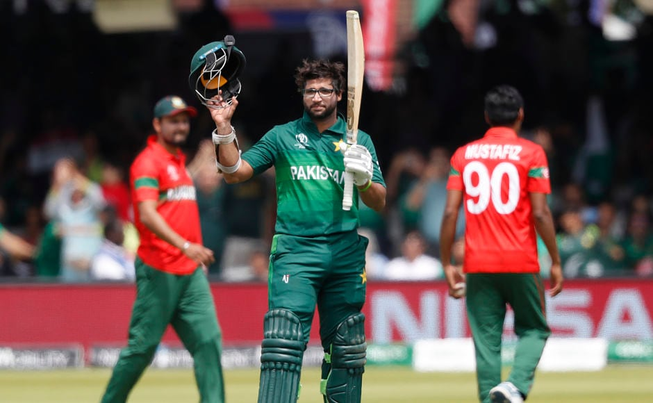 Pakistan's Imam-Ul-Haq celebrates after scoring his century. His contribution was important to the team as the unpredictable team registered a total of 315-9. AP