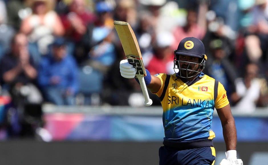 Sri Lanka's Kusal Perera celebrates after scoring a half-century. He played a knock of 64 runs. AP