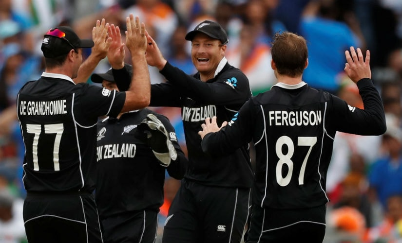 Martin Guptill celebrates after running MS Dhoni out in the semi-final against India at Old Trafford. Reuters