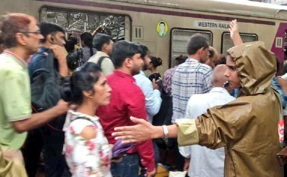 In view of incessant rains and high tide, the RPF were deployed at suburban stations and foot-over-bridges for safety of commuters. Twitter @WesternRly