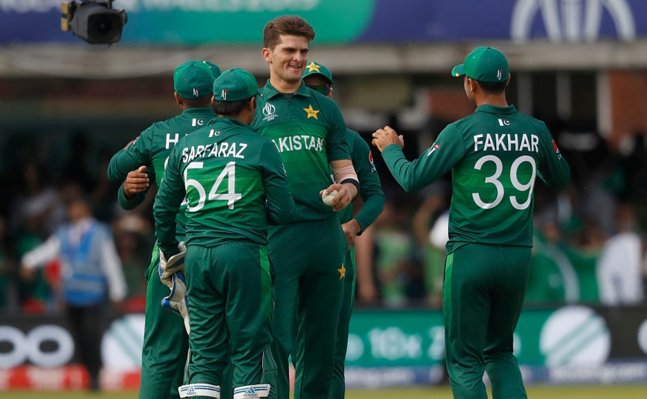 Shaheen Afridi is all smiles after seeing off Mustafizur Rahman, who was the last to depart. The 19-year-old became the youngest-ver bowler to claim a five-wicket haul in ODIs. AP