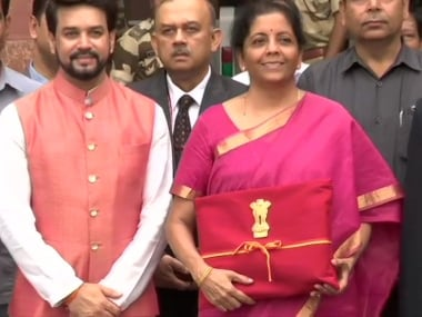 Union Budget 2019: Nirmala Sitharaman does away with traditional briefcase, carries red bahi khata symbolising Indian tradition