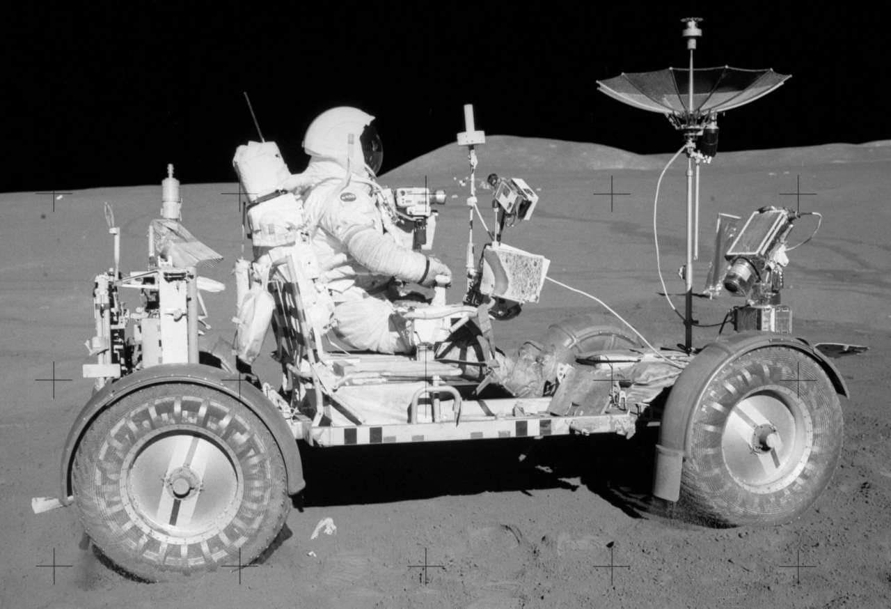 The Apollo 15 lunar rover in the Hadley Rille region of the Moon. Image Credit NASA