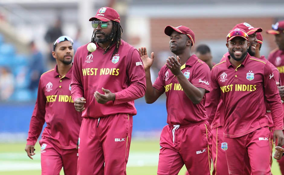 West Indies players celebrate their victory over Afghanistan. For the Afghans, it was a forgettable campaign after they finished winless after nine matches. AP