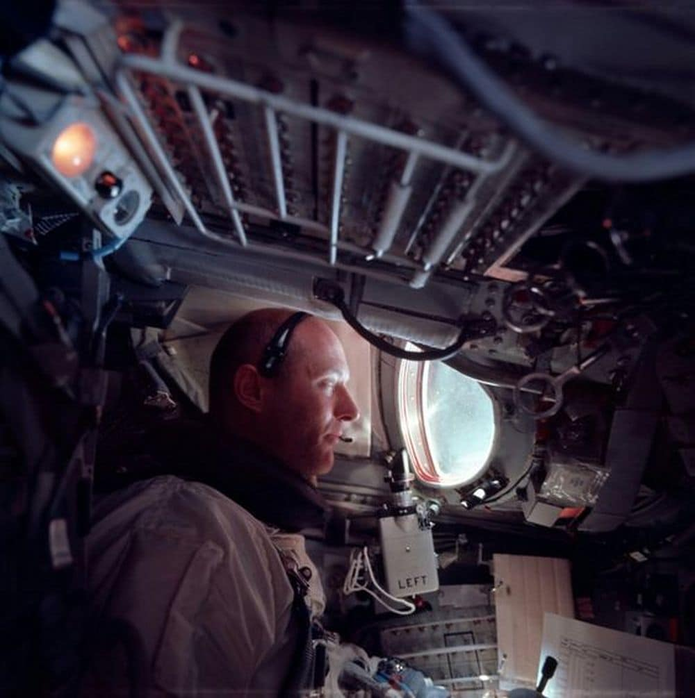 Astronaut Tom Stafford in the cockpit during the Gemini mission. Image credit: NASA