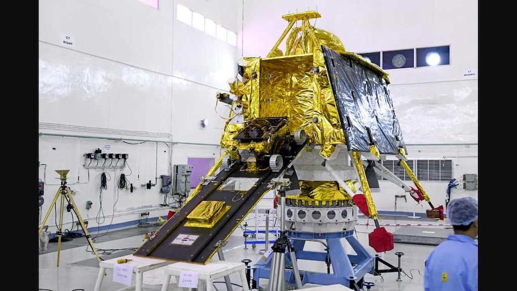 The Pragyan rover is being rolled into the Vikram Lander. Image credit: ISRO