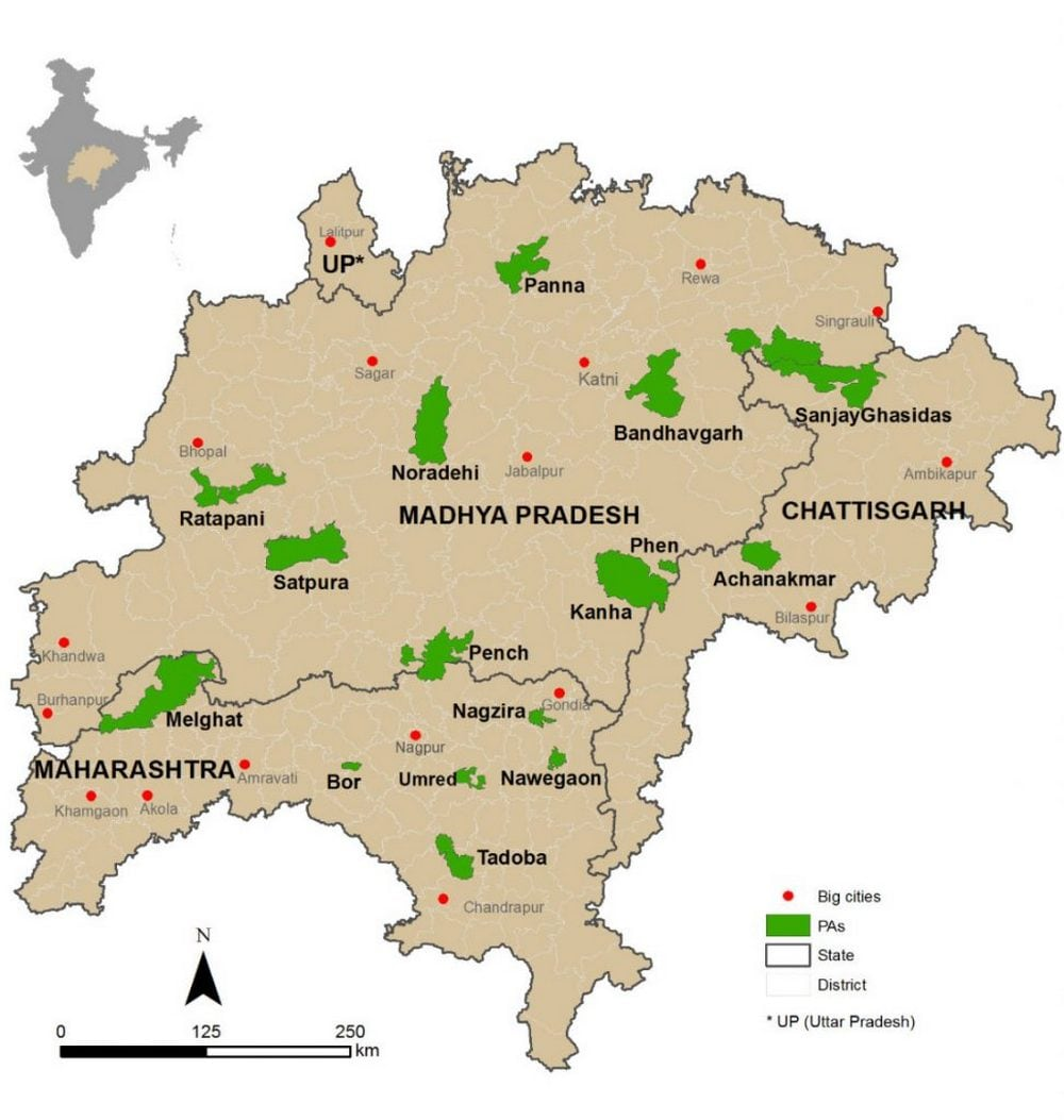 Map of study landscape. The location in India is shown in the inset. State and district boundaries are shown black and gray, respectively. Protected areas are shown in green, and big cities/towns (with population greater than 88,000 people) are represented as red dots. Map credit: Conservation India