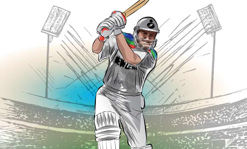 Mark Greatbatch, a classical middle-order batsman, donned a new avatar — that of marauder at the 1992 World Cup. Artwork by Rajan Gaikwad