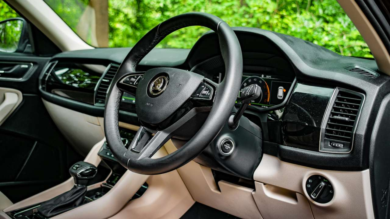 Skoda Kodiaq L&K SUV dashboard and steering wheel.