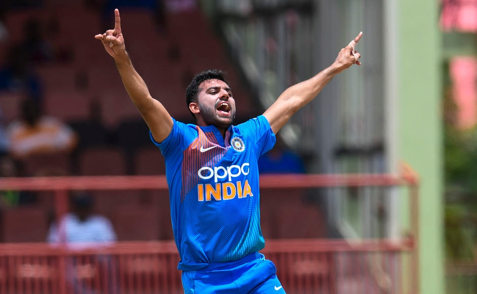 India won the toss and elected to bat first. The move proved to be beneficial as West Indies lost three wickets quickly. Deepak Chahar, who was plying for the first time in the series, picked all the three wickets. His overall bowling figures were outstanding as he conceded just four runs in his three overs. AFP