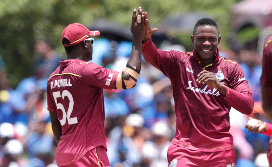 West Indies pacers especially Sheldon Cottrell bowled a good spell to restrict the run-flow. In his four overs, he conceded only 25 runs, taking two crucial wickets. AP