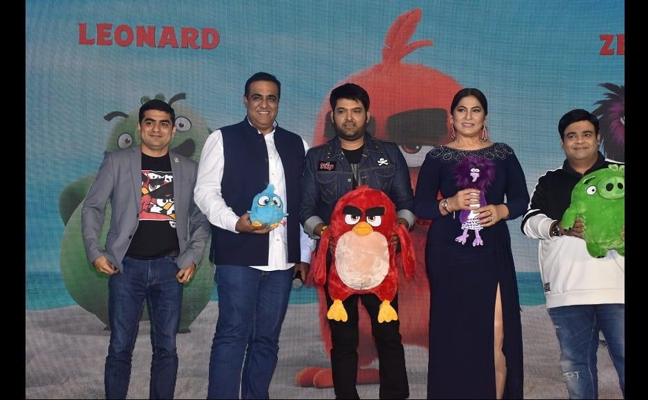 Anurag Sachdeva, Vivek Krishnani, Kiku Sharda, Archana Puran Singh and Kapil Sharma during the Angry Birds Movie press meet