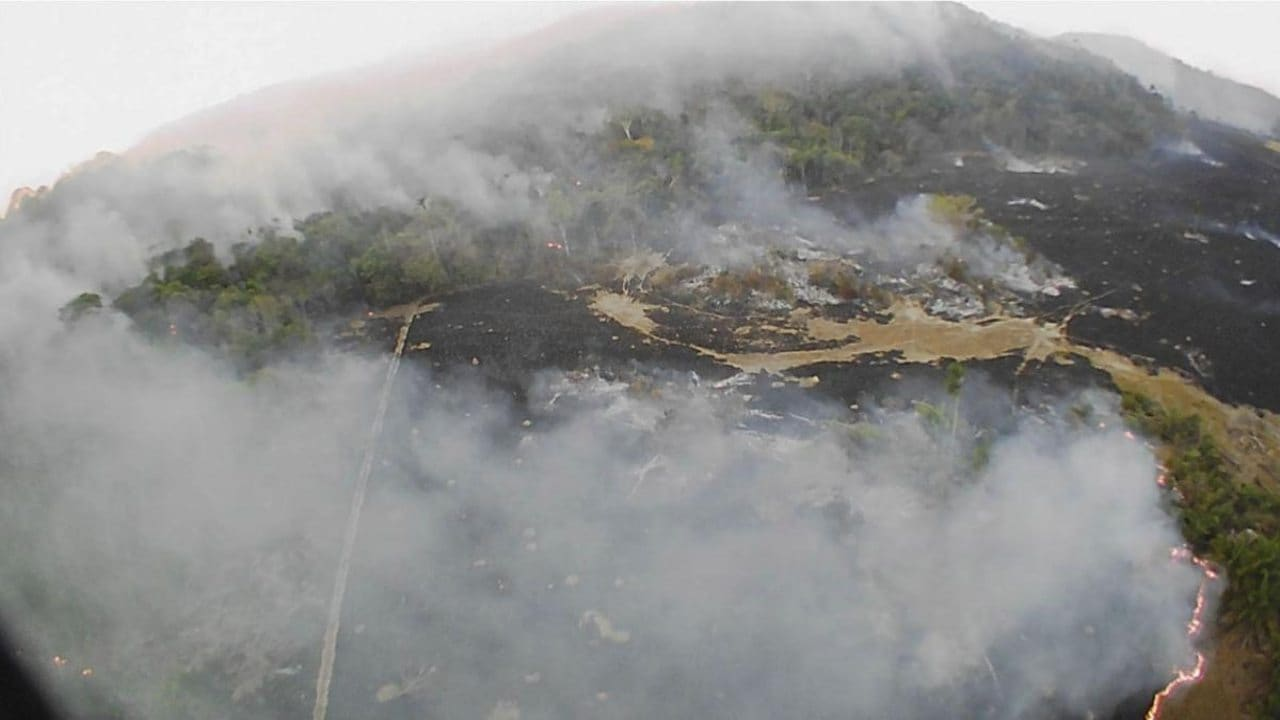 This 20th August drone photo shows brush fires burn in Guaranta do Norte municipality, Mato Grosso state in Brazil. Image: AP