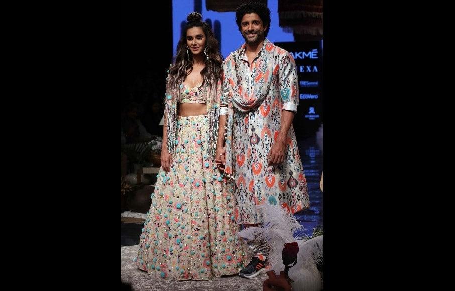 Farhan Akhtar and Shibani Dandekar fashion synchronized in their multi-colour ensembles | Sachin Gokhale
