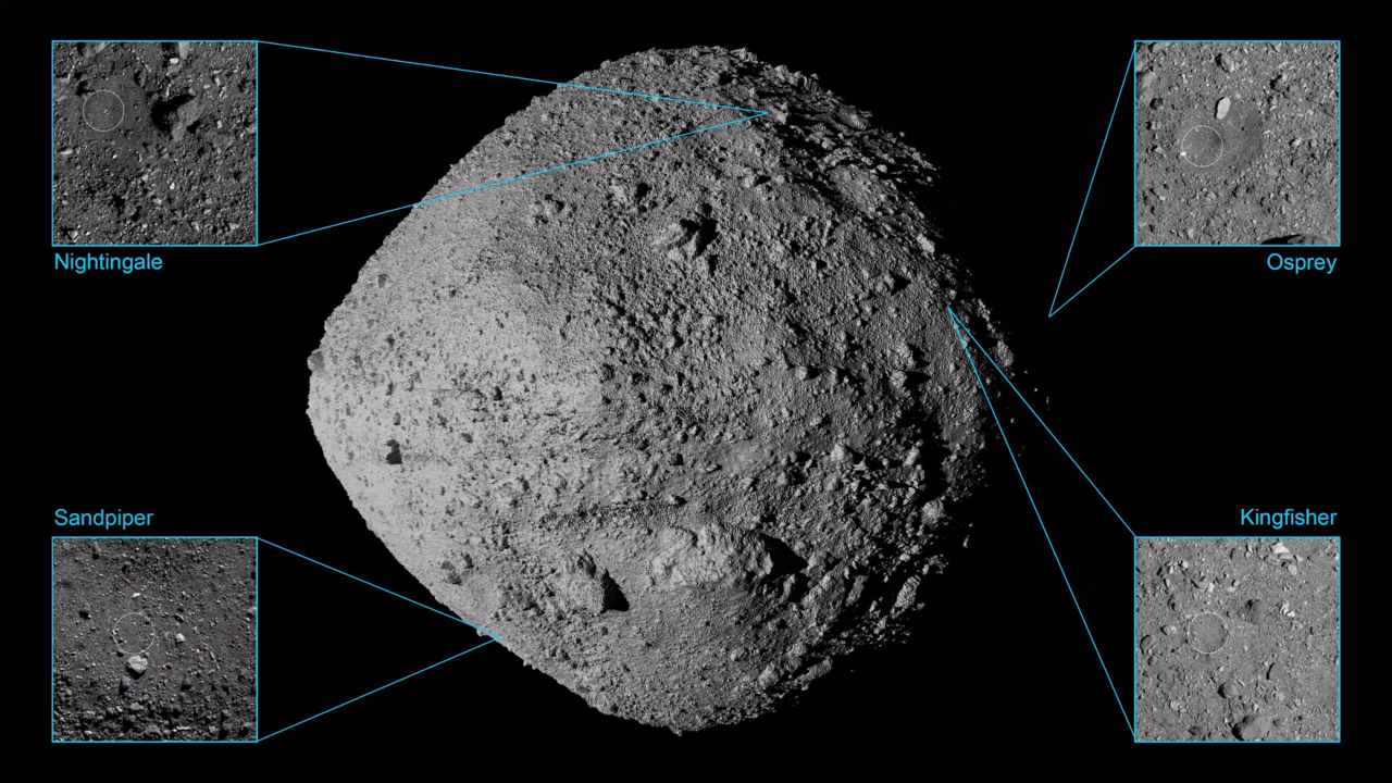 NASA locks down four potential landing sites on asteroid Bennu to collect samples