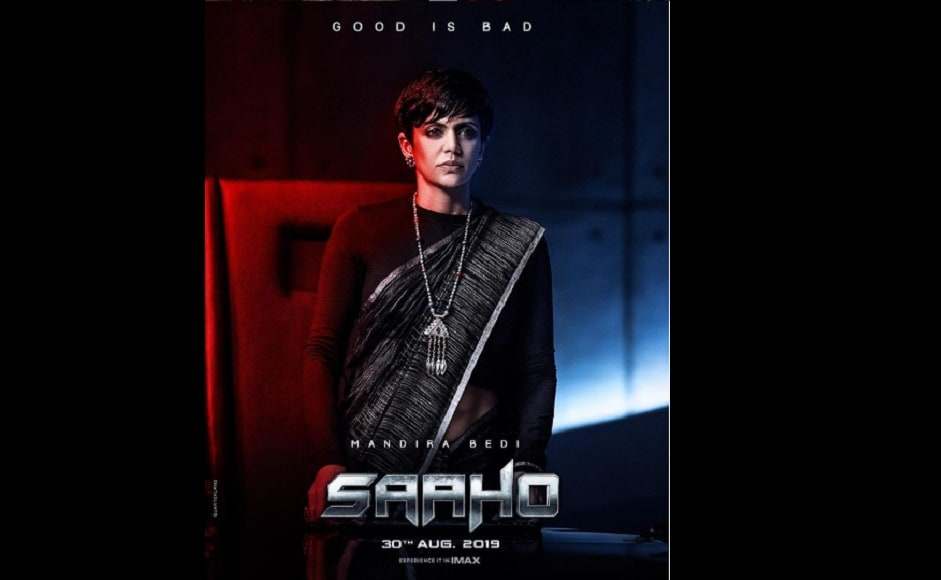 Draping a black and grey sari around herself, Mandira Bedi's Kalki looks on determinedly at the camera in Saaho poster | Instagram