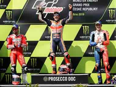 MotoGP 2019: Hondas Marc Marquez claims 50th career win with dominant victory in rain-lashed Czech Grand Prix