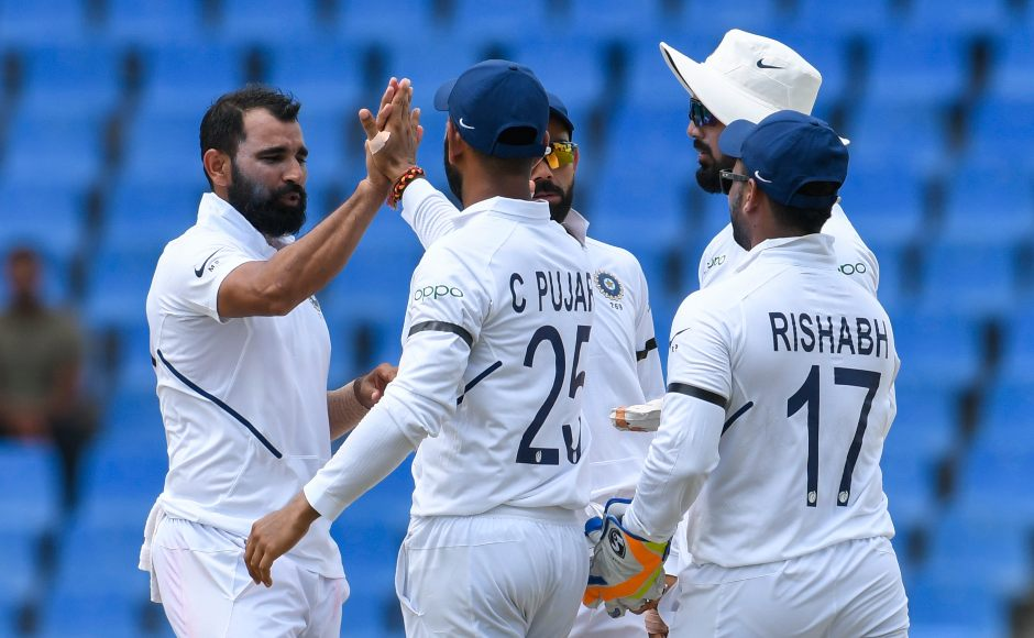 Mohammed Shami finished with figures of 2/48 with West Indies having been bundled out for 222, meaning India had gained a 75-run lead. AFP