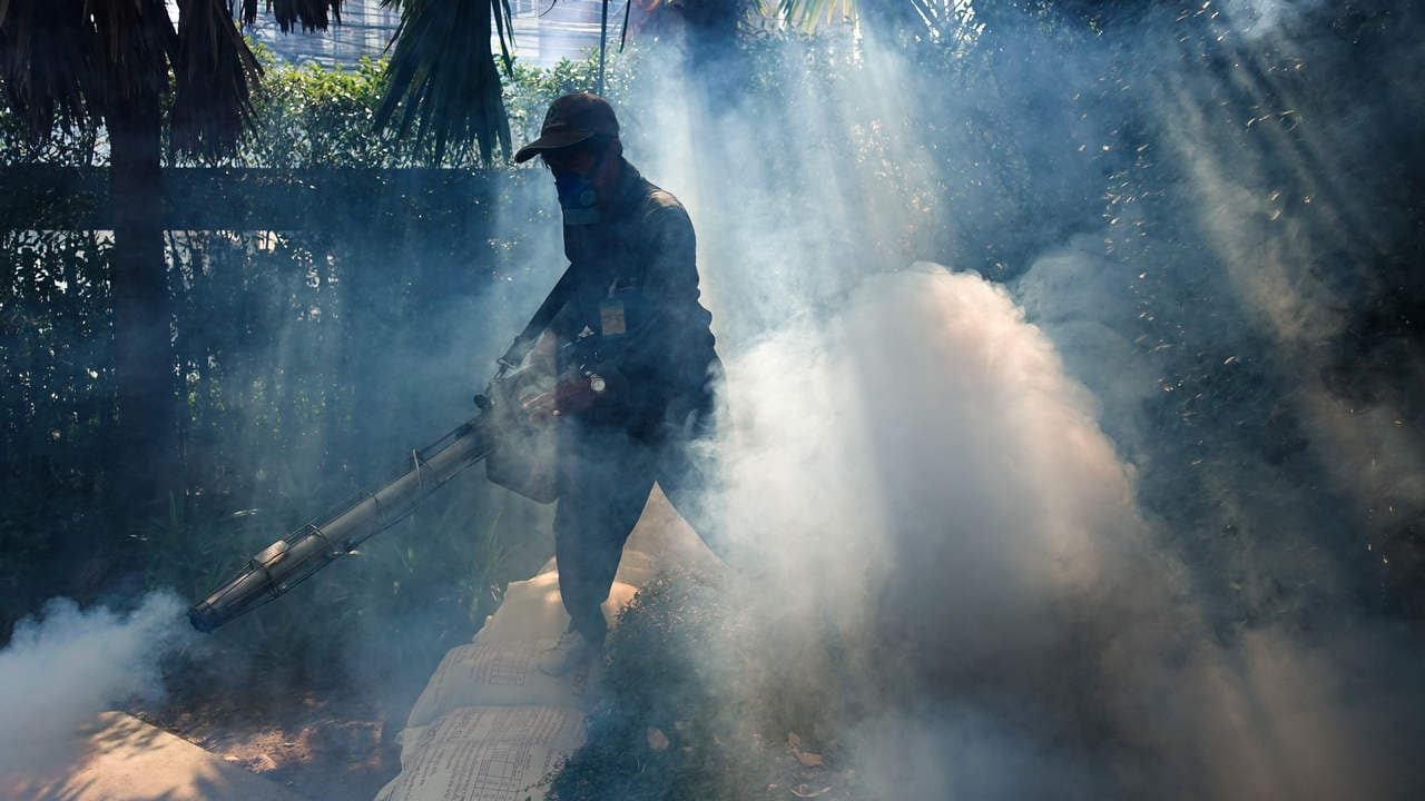 A worker sprays insecticide for mosquitos at a village in Bangkok, Thailand, December 12, 2017. Picture taken December 12, 2017. REUTERS/Athit Perawongmetha - RC18528D7410