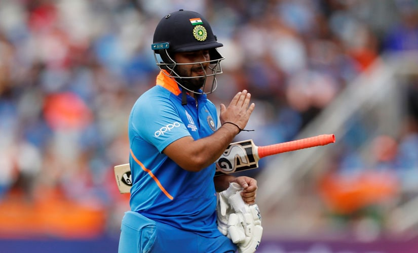Cricket - ICC Cricket World Cup Semi Final - India v New Zealand - Old Trafford, Manchester, Britain - July 10, 2019 India's Rishabh Pant reacts losing his wicket Action Images via Reuters/Lee Smith - RC1C866A0760
