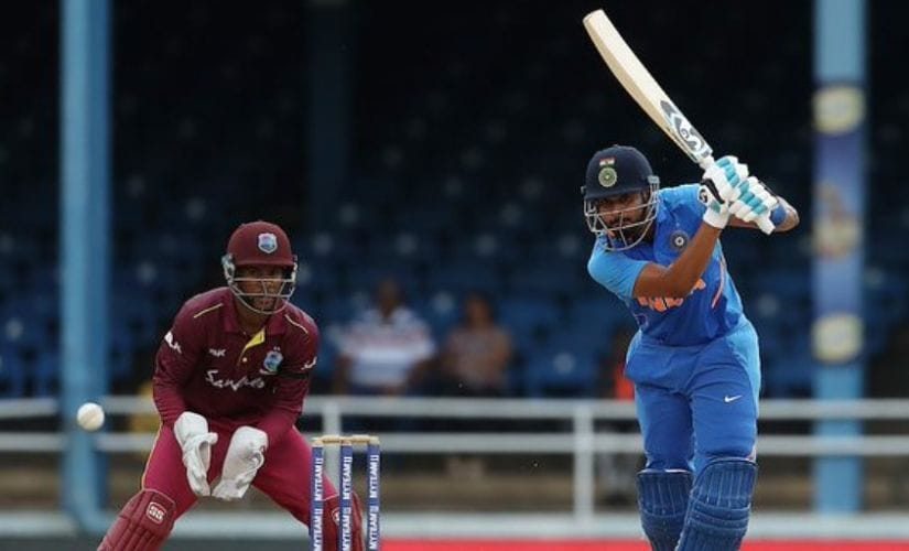 Shreyas Iyer slammed a quickfire half-century in the third ODI against West Indies. Image courtesy: Twitter @BCCI