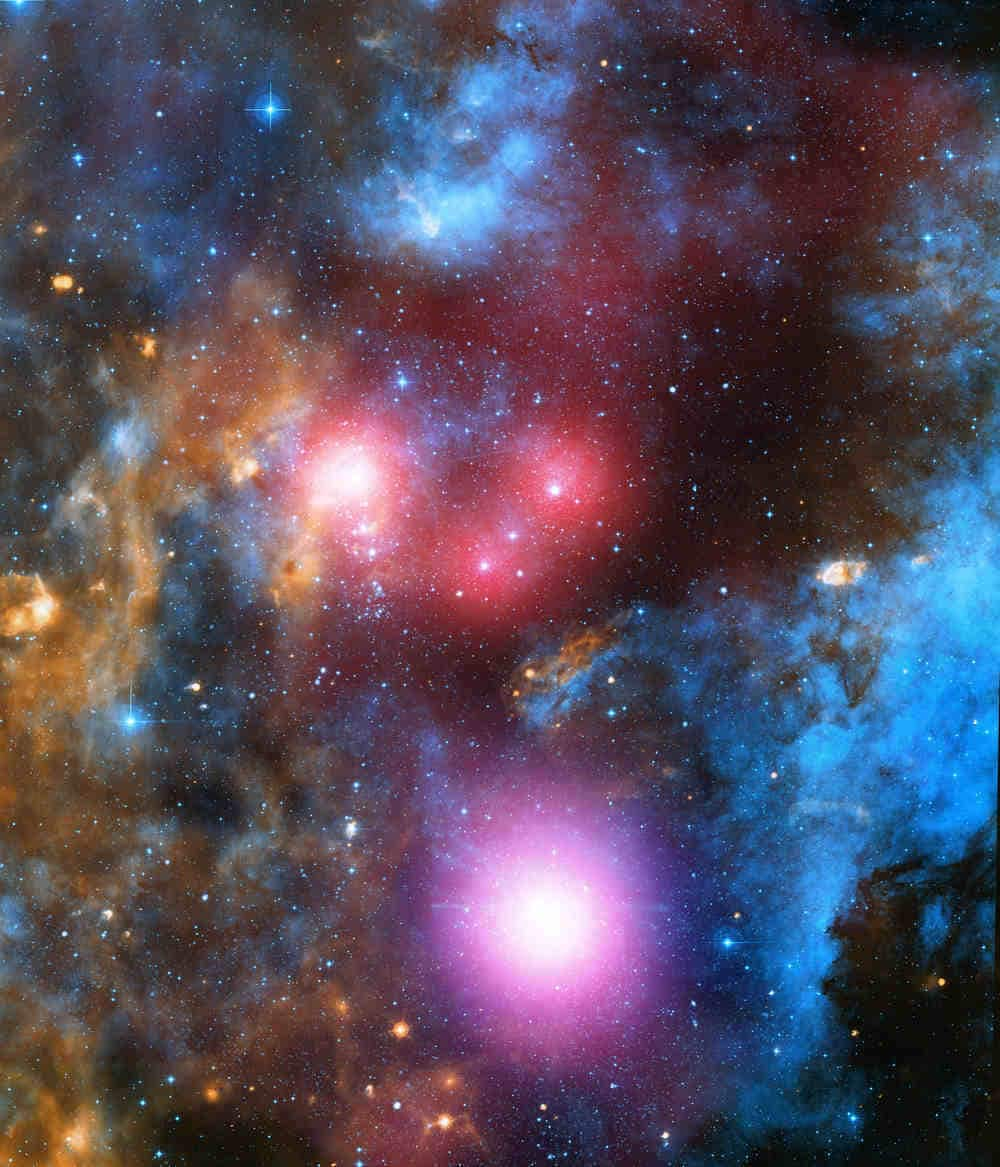 Cygnus OB2 has massive stars that only last a few million years. During the star's lifetimes, they blast large amounts of high-energy winds into their surroundings which collide or produce shocks in the gas and dust around the stars. They produce large amounts of energy that produce X-ray emission that Chandra can detect. Image credit: NASA/CXC