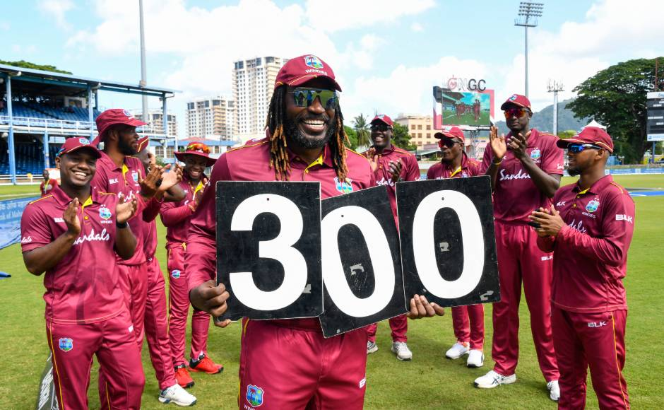 The hard-hitting opener Chris Gayle fell for just 11 runs although it was enough to take him past Brian Lara for the most runs in ODI cricket by a West Indian, a record which now stands at 10,409. It was also Gayle's 300th ODI, making him the first West Indian to reach that landmark. AFP