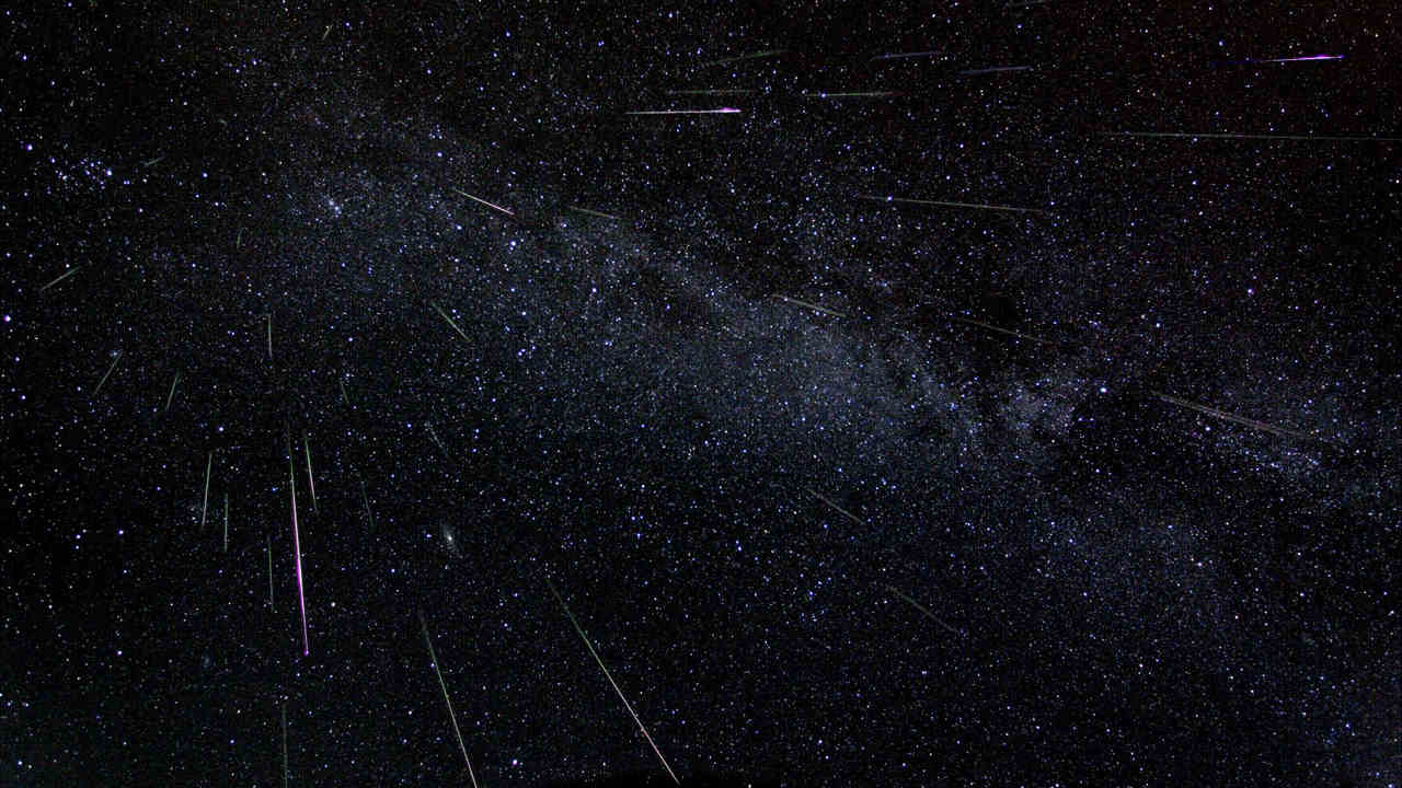 Astronomer Fred Bruenjes recorded a series 30 second long exposures spanning about six hours in 2004 and combined them. There are 51 Perseid meteors in the composite image, including one seen nearly head-on. Image Credits: Fred Bruenjes