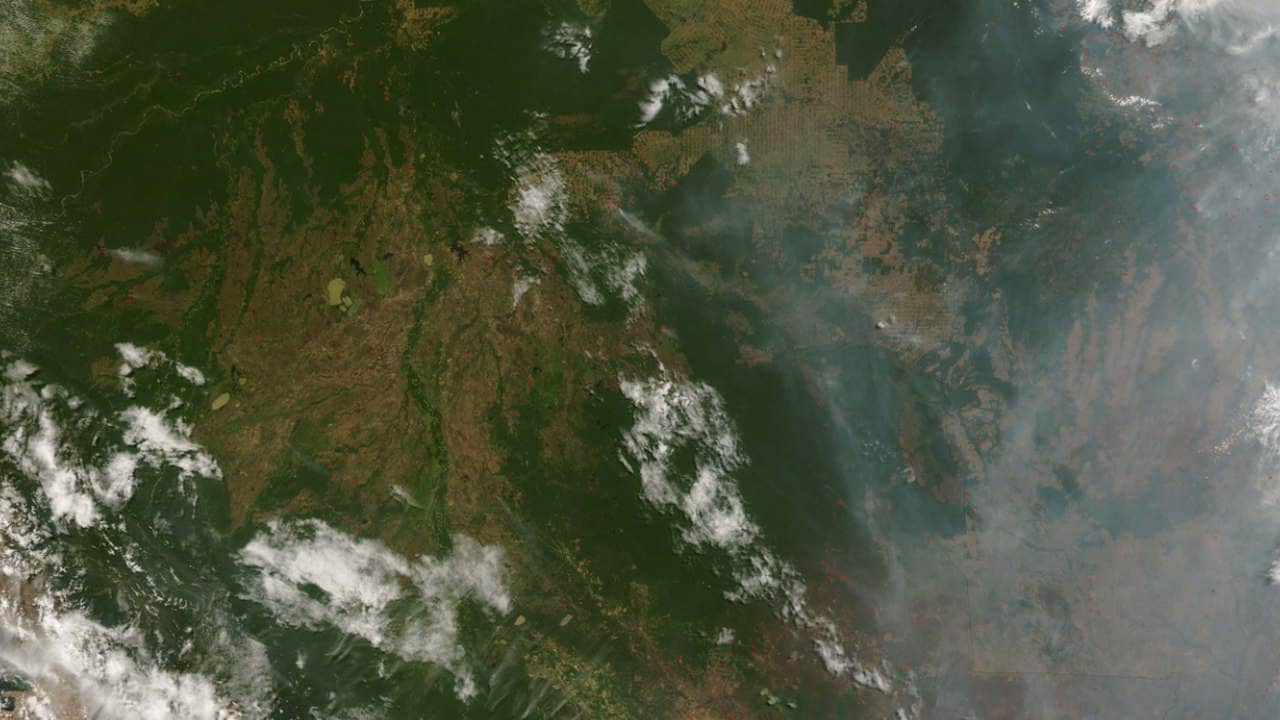 Amazon fires as seen from space. Image credit: NASA
