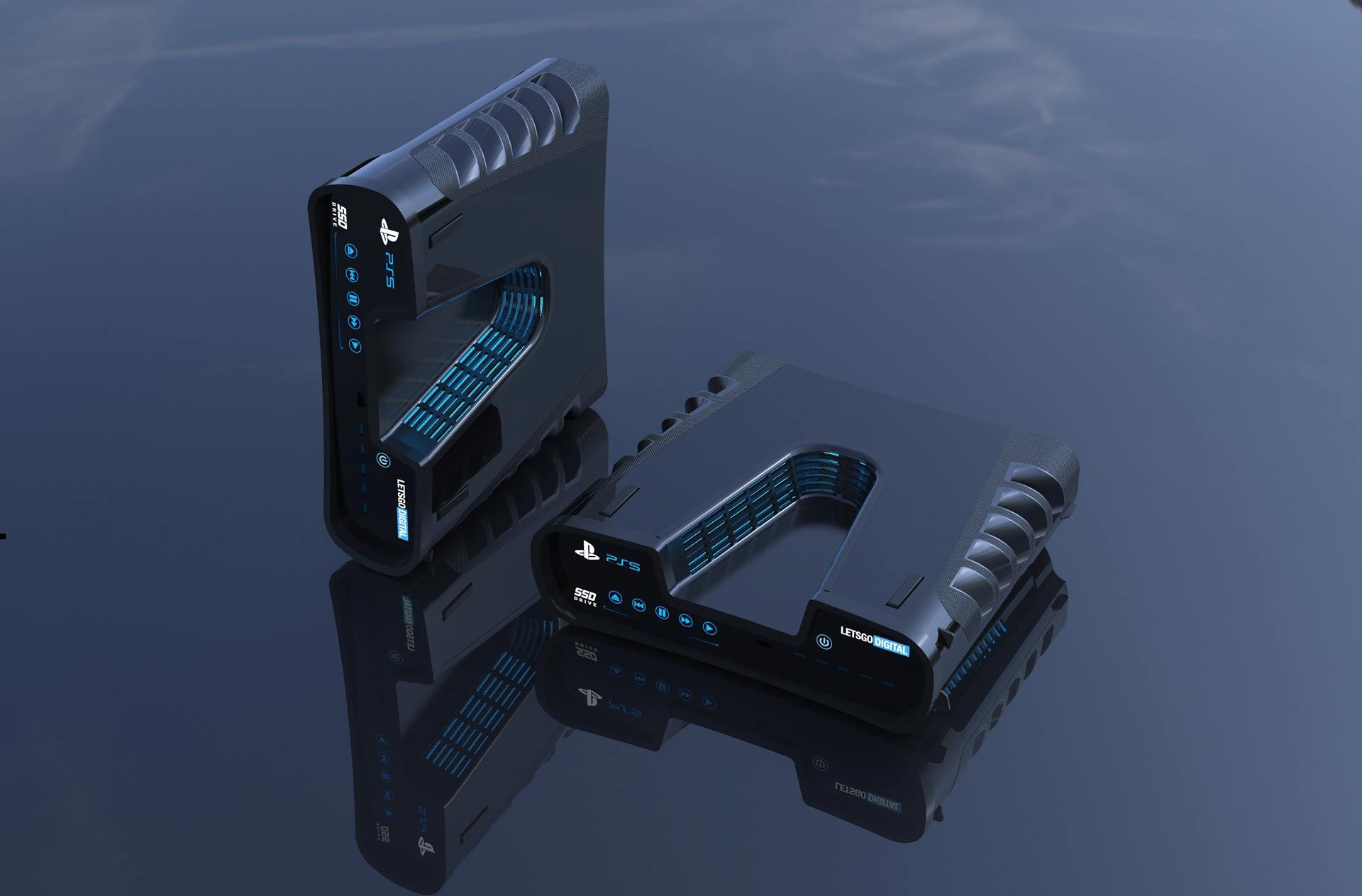 Sony PlayStation 5 devkit 3D render.  Imagem: LetsGoDigital