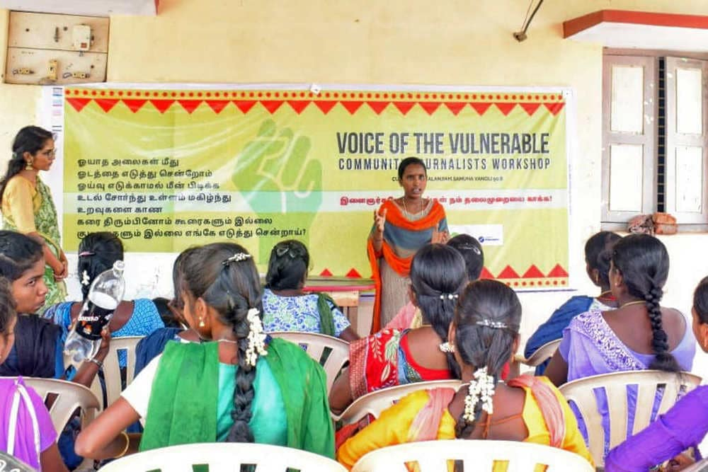 Voice of the Vulnerable workshops trains young community journalists from Vizhunthamavadi and nearby villages to document stories about the impact of climate change and the environment in the community's daily lives. image credit: Kalanjiam Samuga Vanoli.