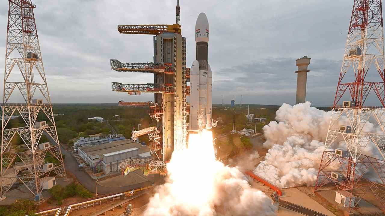 The GSLV MkIII lifts off from a Sriharikota launchpad.