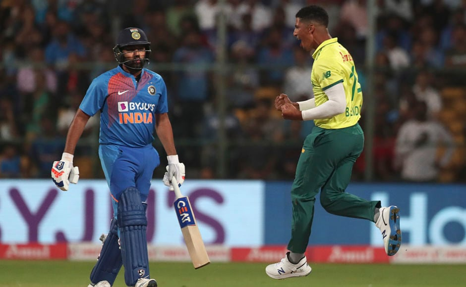 South Africa's Beuran Hendricks is ecstatic after dismissing Rohit Sharma, who was the first to depart. India had won the toss and put themselves to bat. AP