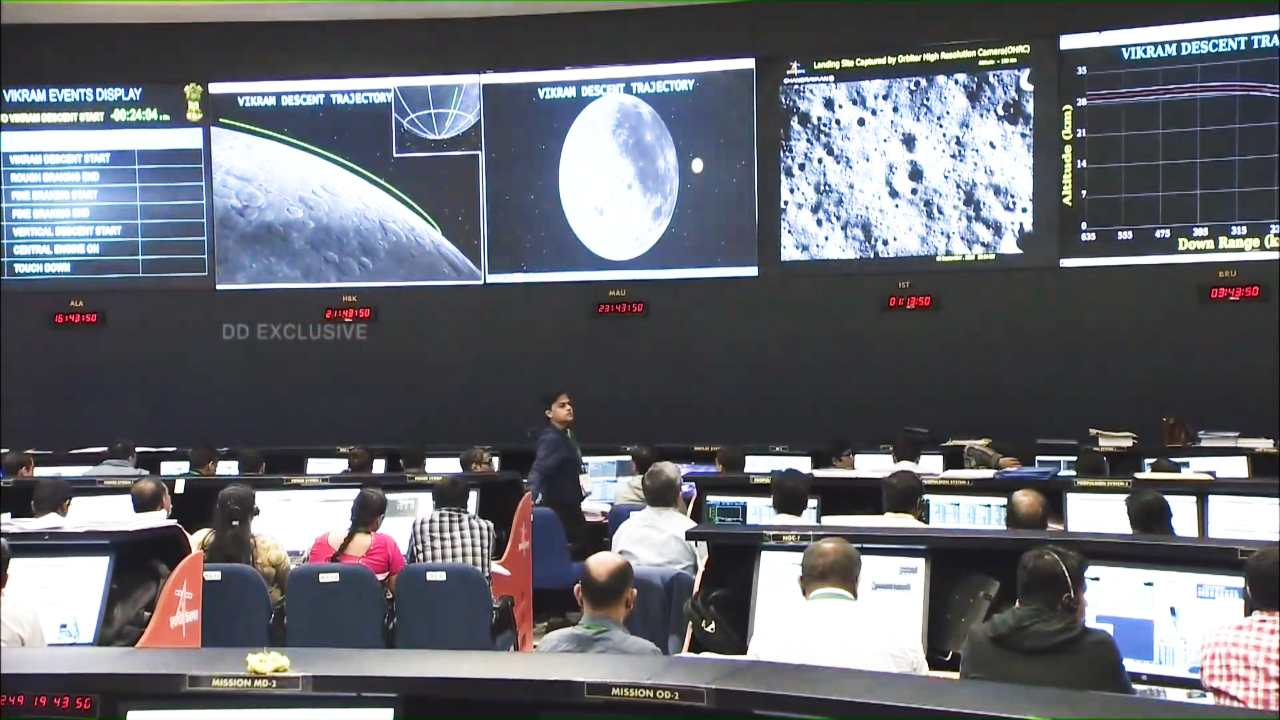 A glimpse of the Chandrayaan 2 command centre at ISRO's ISTRAC satellite tracking facility in Bengaluru. Image: DD National/ISRO