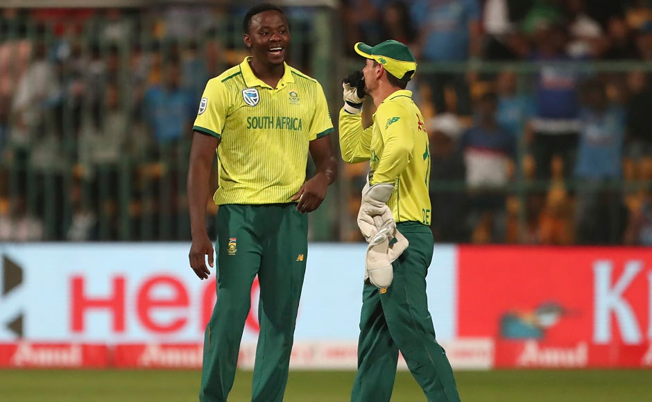 Kagiso Rabada is all smiles with Quinton de Kock after dismissing Ravindra Jadeja. Rabada finished with figures of 3-39 as the hosts were restricted to 134-9. AP